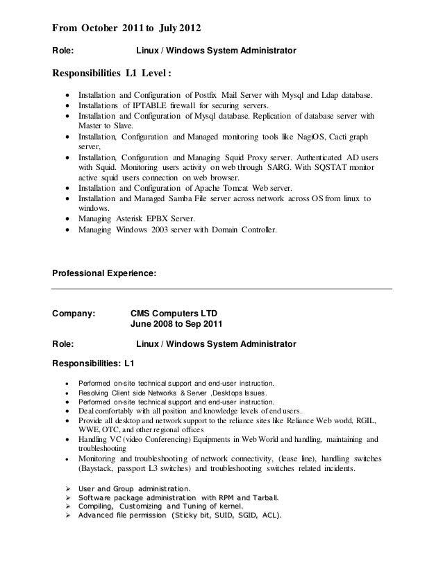 Ldap Administrator Resume