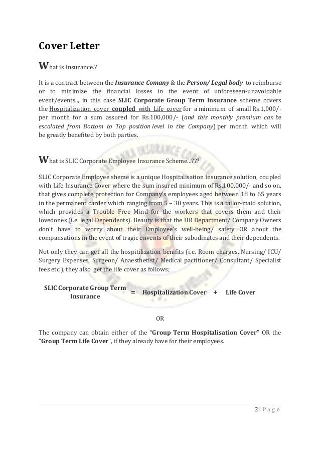 Insurance proposal cover letter