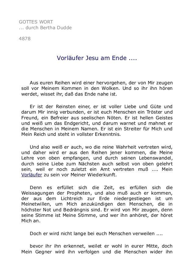 GOTTES WORT ... durch Bertha Dudde 4878 Vorläufer Jesu am Ende .... Aus euren Reihen wird einer hervorgehen, der von Mir z...