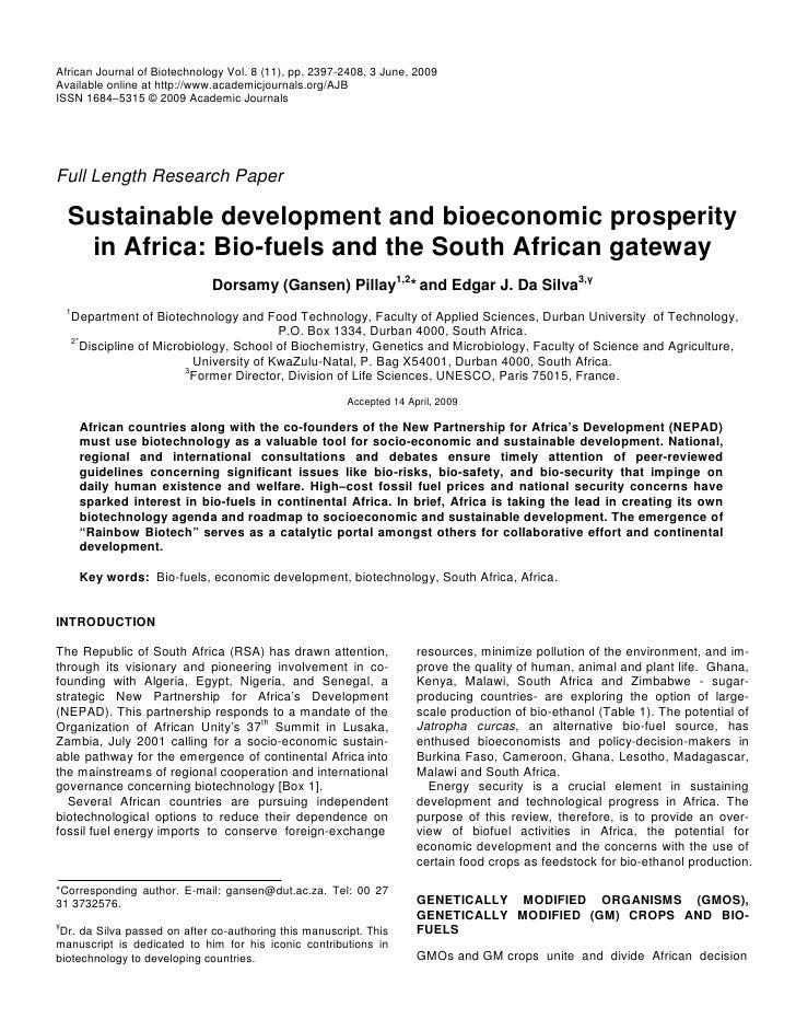 Sustainable Development and Bioeconomic Prosperity in Africa