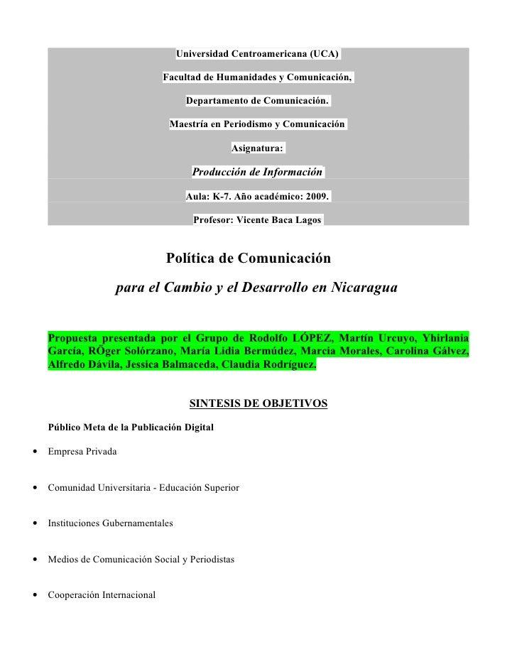 Universidad Centroamericana (UCA)                                  Facultad de Humanidades y Comunicación,                ...