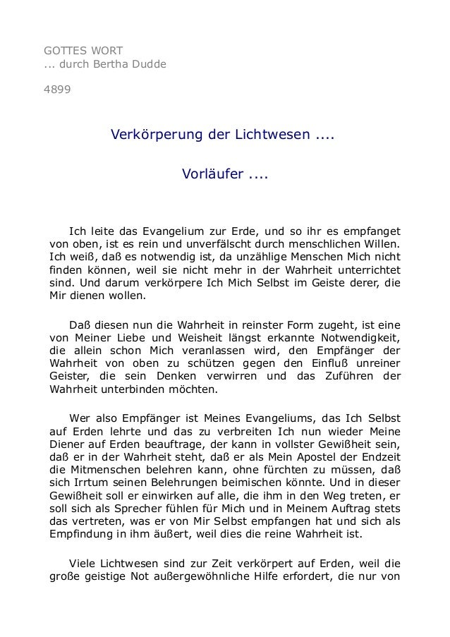 GOTTES WORT ... durch Bertha Dudde 4899 Verkörperung der Lichtwesen .... Vorläufer .... Ich leite das Evangelium zur Erde,...