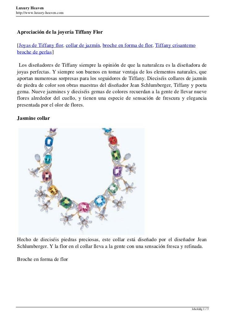 Luxury Heavenhttp://www.luxury-heaven.comApreciación de la joyería Tiffany Flor[Joyas de Tiffany flor, collar de jazmín, b...