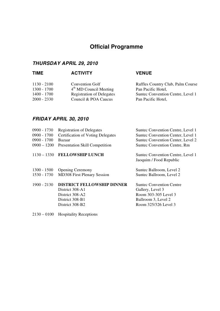 Official Programme  THURSDAY APRIL 29, 2010 TIME                 ACTIVITY                    VENUE  1130 - 2100          C...