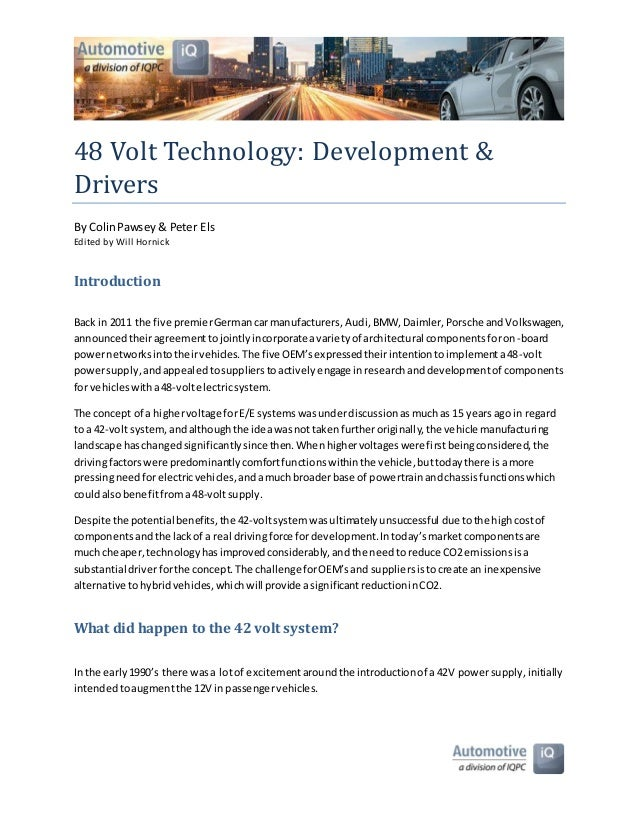 48 Volt Technology Report by Colin Pawsey & Peter Els
