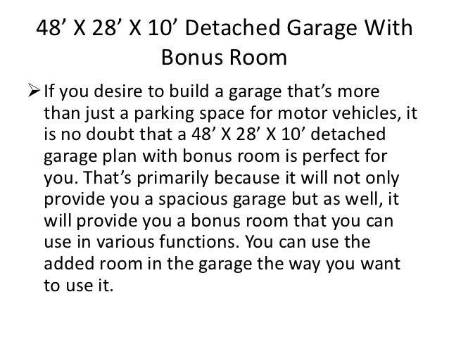 48 x 28 x 10 detached garage with bonus room for 28x28 garage plans