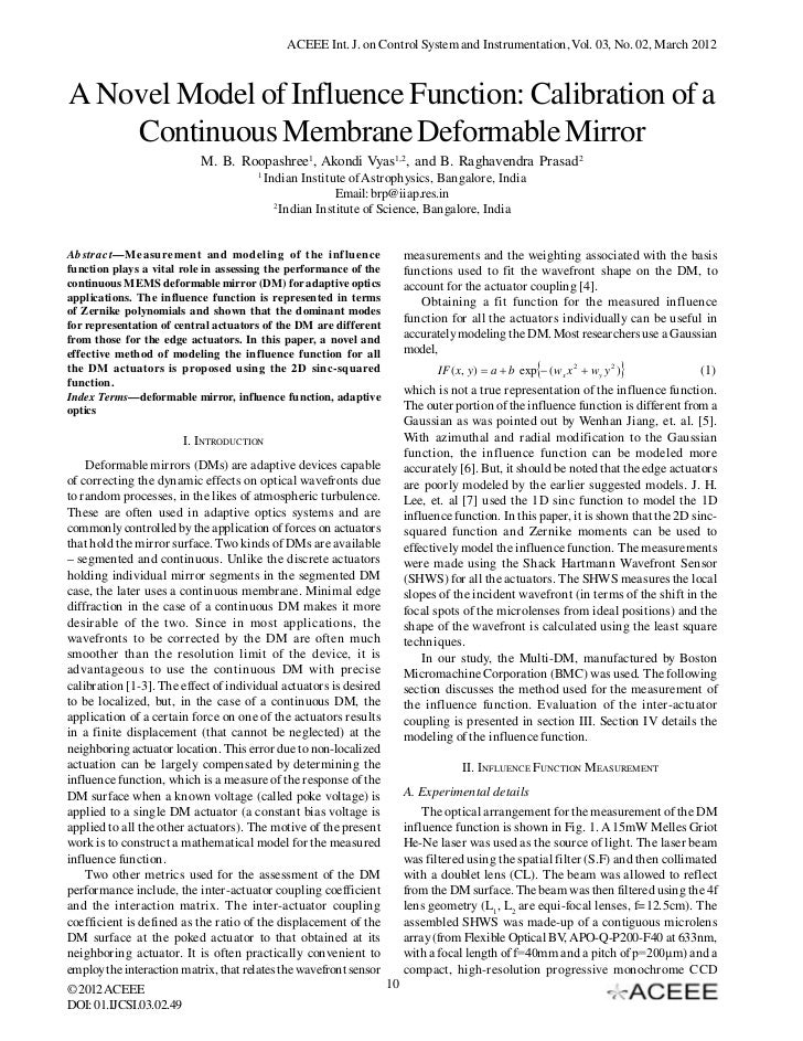 A Novel Model of Influence Function: Calibration of a Continuous Membrane Deformable Mirror