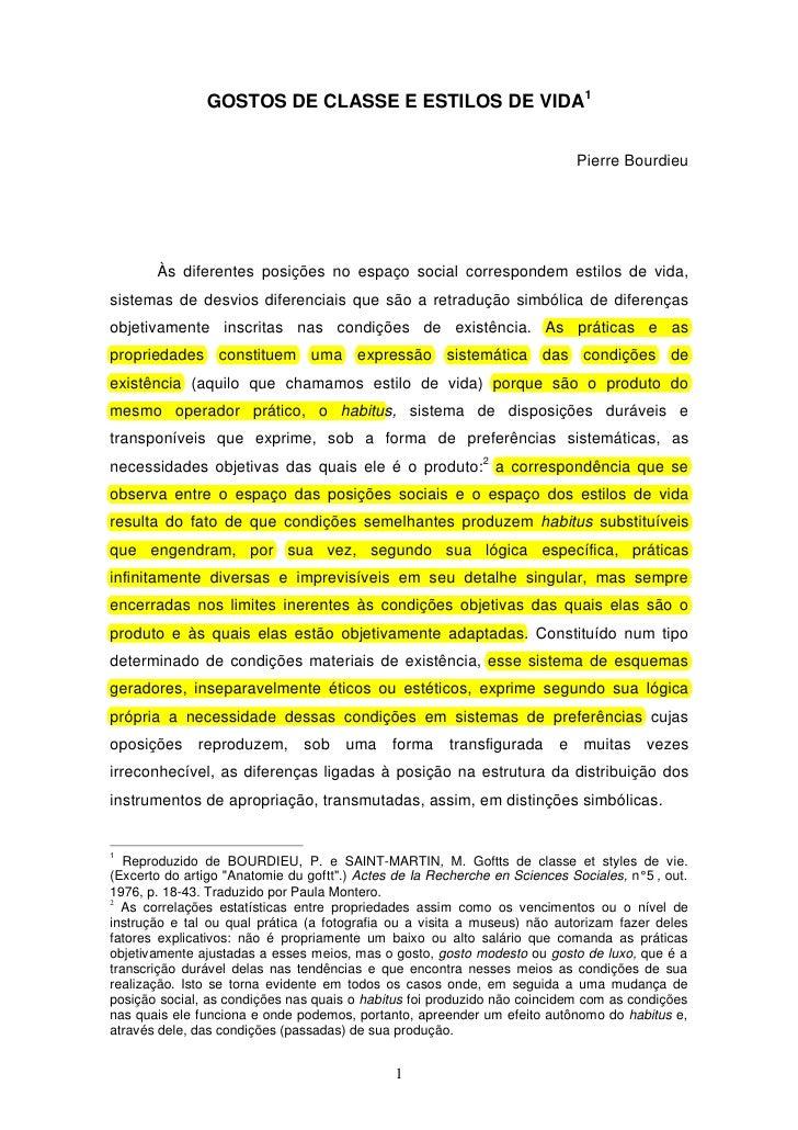 GOSTOS DE CLASSE E ESTILOS DE VIDA1                                                                             Pierre Bou...