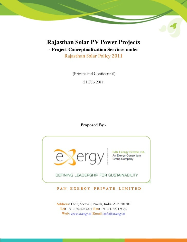 Rajasthan Solar PV Power Projects- Project Conceptualization Services under        Rajasthan Solar Policy 2011            ...