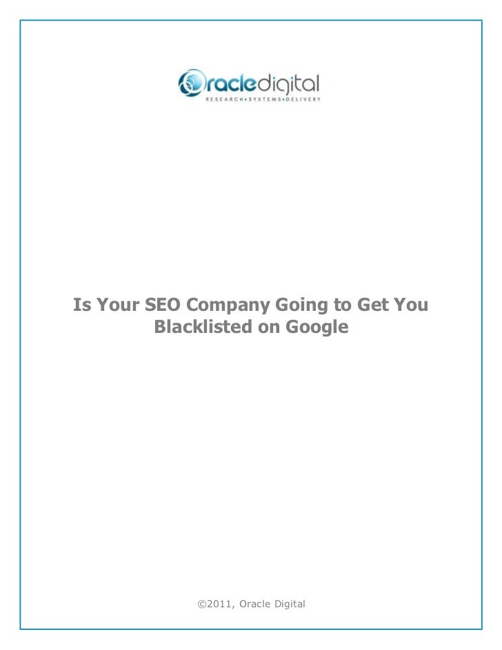 Is Your SEO Company Going To Get You Blacklisted On Google
