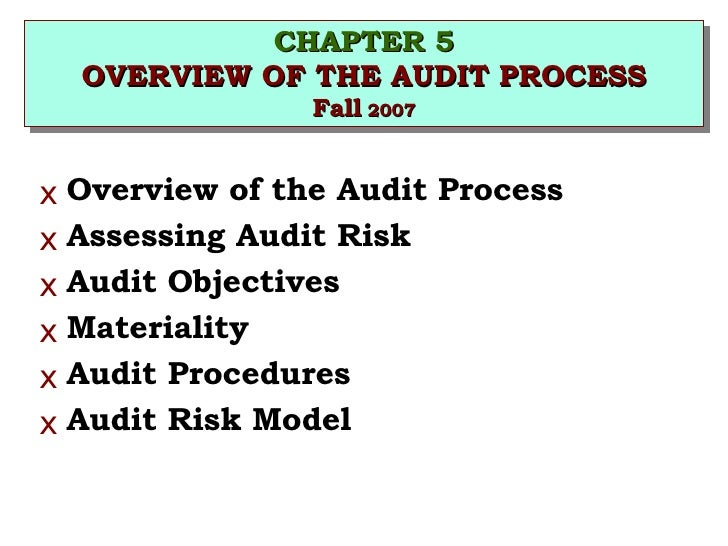 CHAPTER 5 OVERVIEW OF THE AUDIT PROCESS Fall  2007 <ul><li>Overview of the Audit Process </li></ul><ul><li>Assessing Audit...