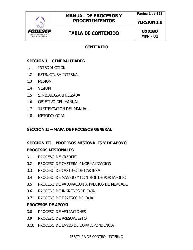 MANUAL DE PROCESOS Y PROCEDIMIENTOS FODESEP (LOGO) TABLA DE CONTENIDO Página 1 de 128 VERSION 1.0 CODIGO MPP - 01 JEFATURA...