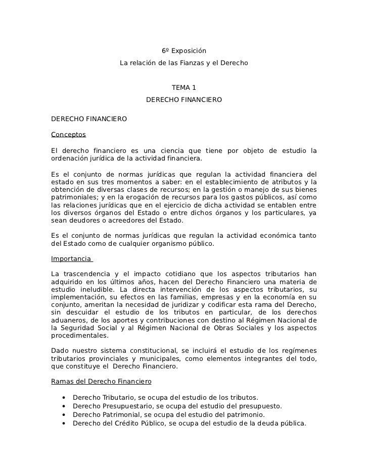6º Exposición                      La relación de las Fianzas y el Derecho                                     TEMA 1     ...