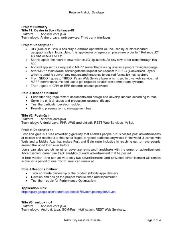 resume android developer