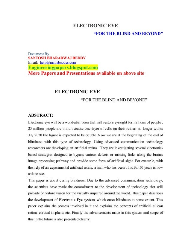 "ELECTRONIC EYE                                                ""FOR THE BLIND AND BEYOND""Document BySANTOSH BHARADWAJ REDDY..."