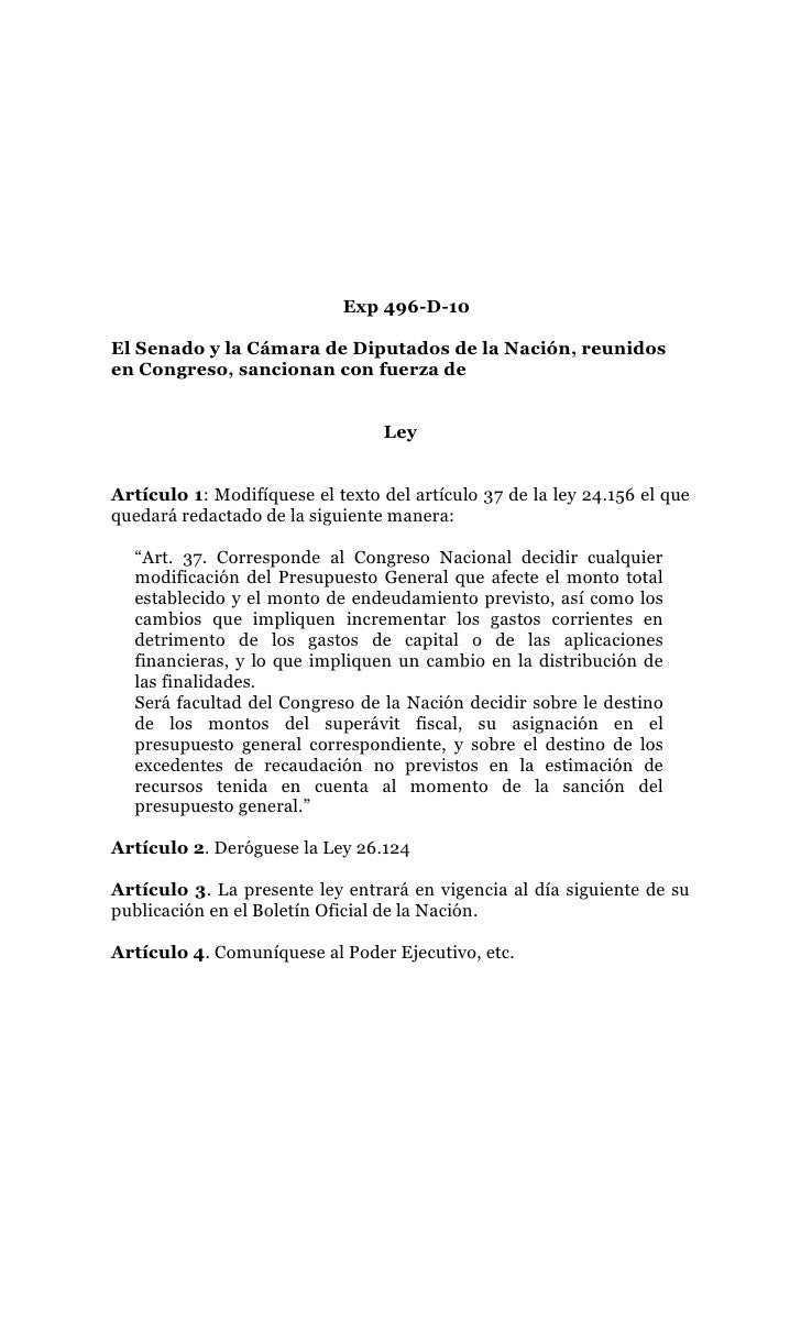 Proyecto de Ley 496-D-10 Alonso - Limitación Superpoderes
