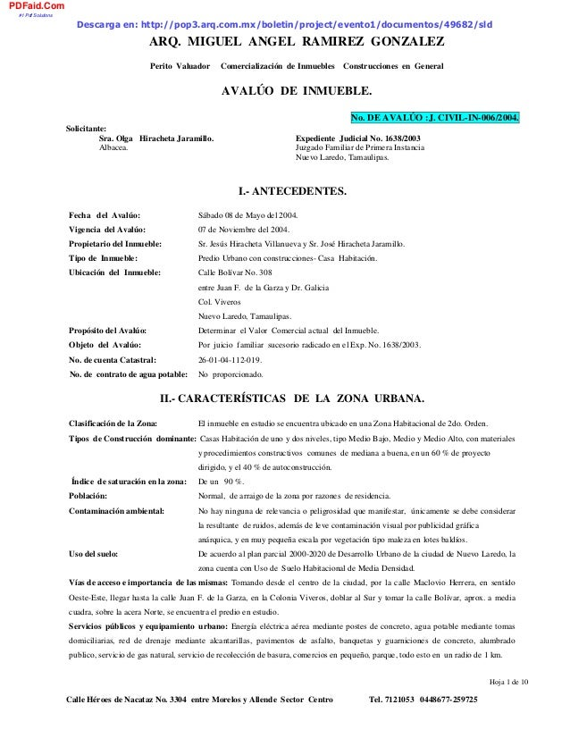ARQ. MIGUEL ANGEL RAMIREZ GONZALEZ Perito Valuador Comercialización de Inmuebles Construcciones en General Hoja 1 de 10 Ca...