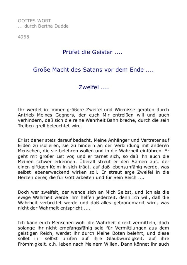GOTTES WORT ... durch Bertha Dudde 4968 Prüfet die Geister .... Große Macht des Satans vor dem Ende .... Zweifel .... Ihr ...