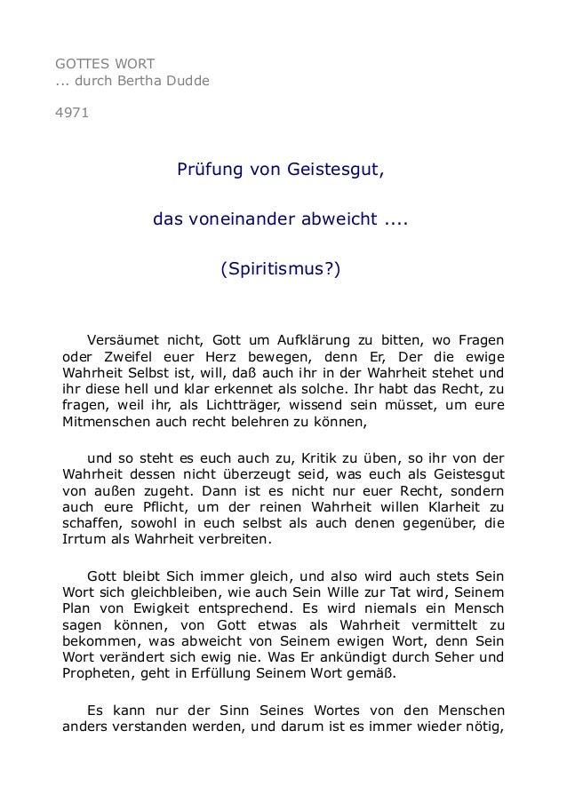 GOTTES WORT ... durch Bertha Dudde 4971 Prüfung von Geistesgut, das voneinander abweicht .... (Spiritismus?) Versäumet nic...