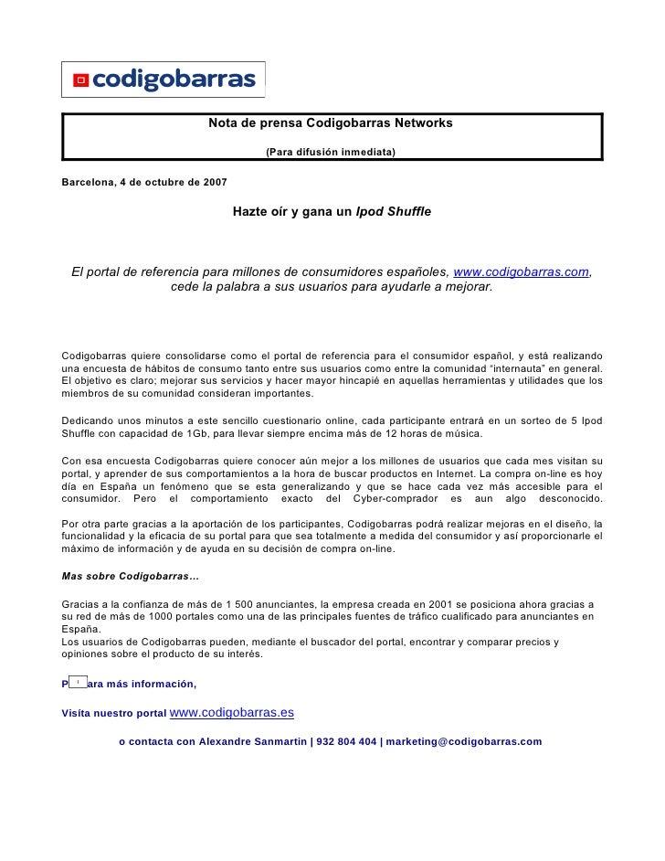 Nota de prensa Codigobarras Networks                                            (Para difusión inmediata)  Barcelona, 4 de...