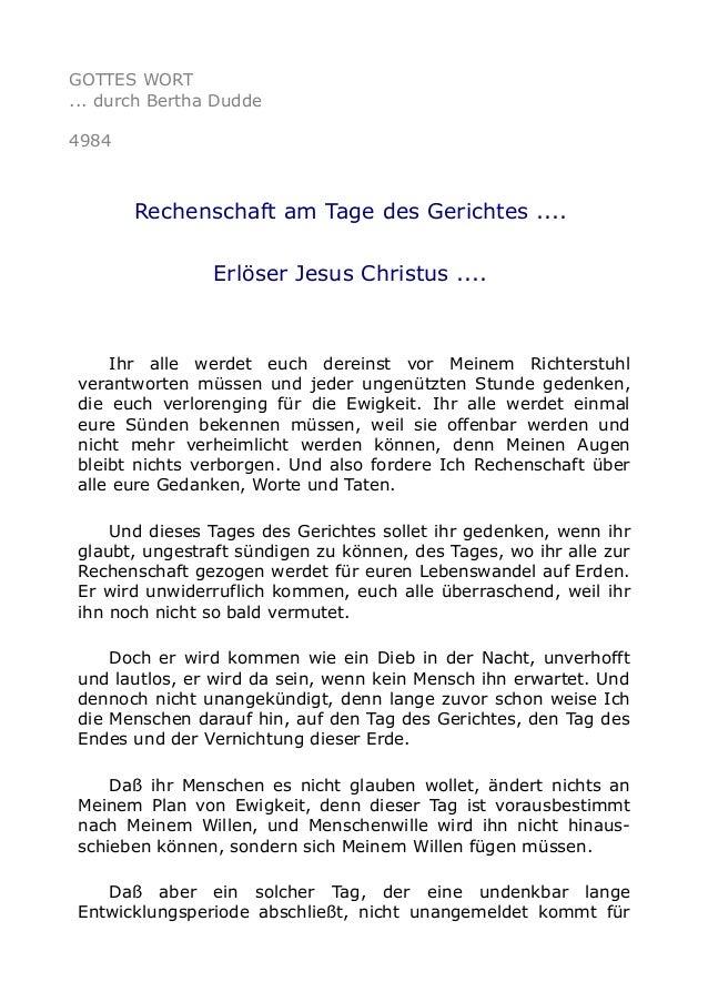 GOTTES WORT ... durch Bertha Dudde 4984 Rechenschaft am Tage des Gerichtes .... Erlöser Jesus Christus .... Ihr alle werde...