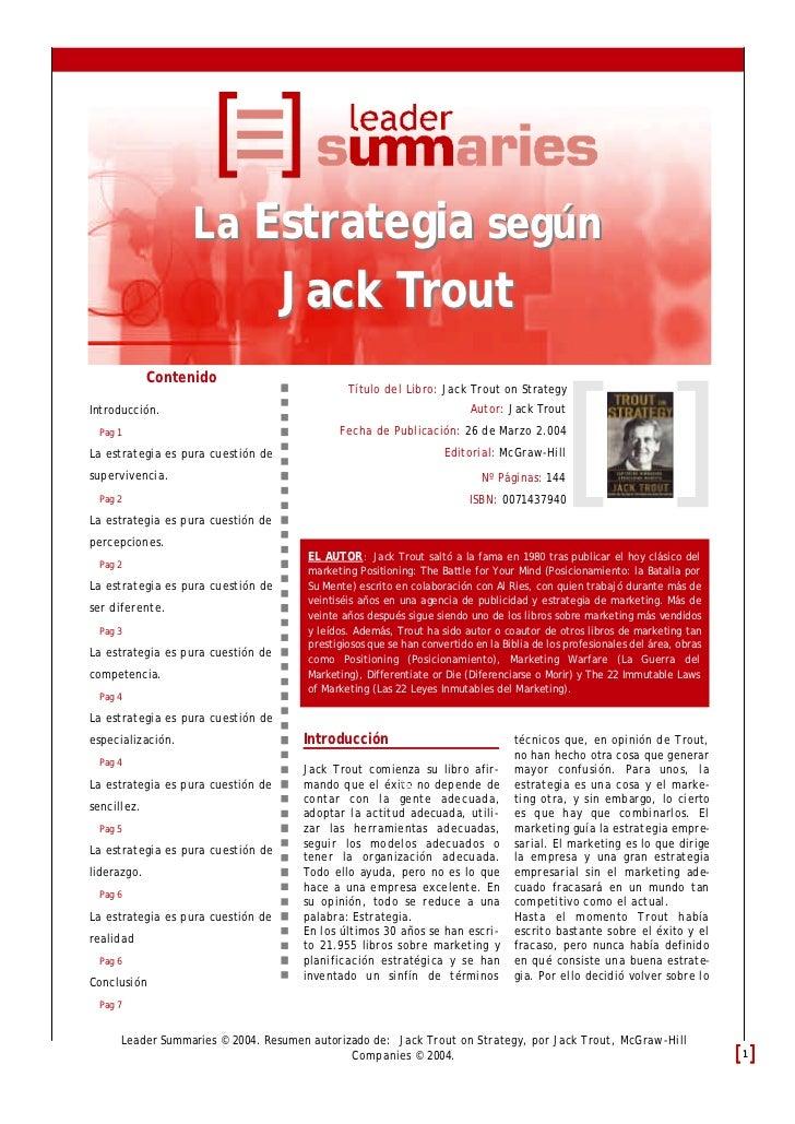 La Estrategia según                                    Jack Trout             Contenido                                   ...