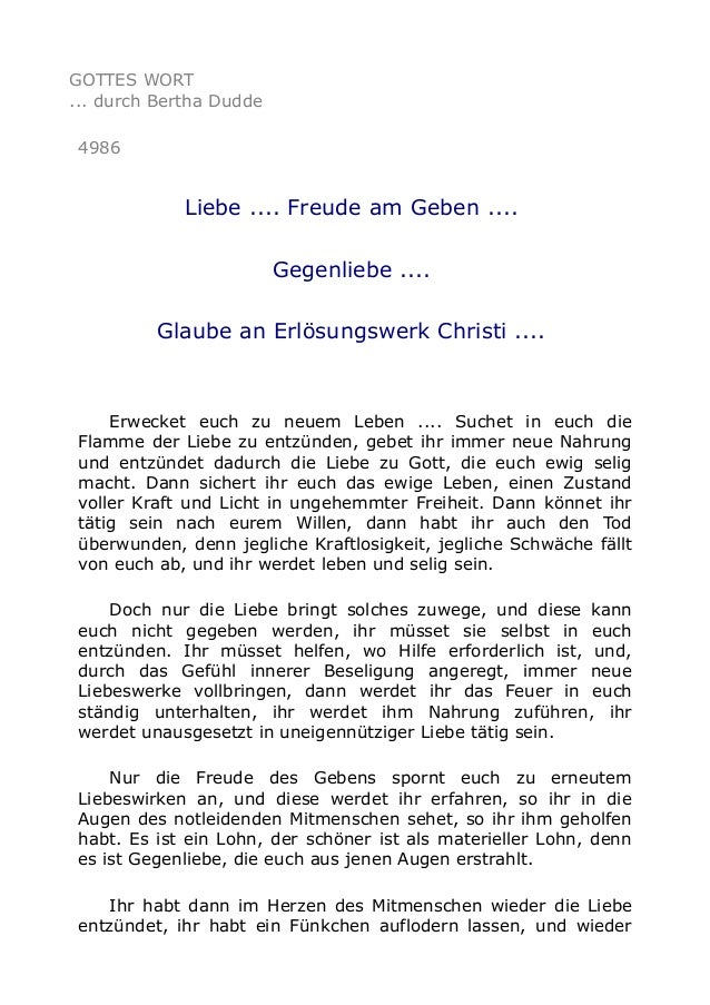 GOTTES WORT ... durch Bertha Dudde 4986 Liebe .... Freude am Geben .... Gegenliebe .... Glaube an Erlösungswerk Christi .....