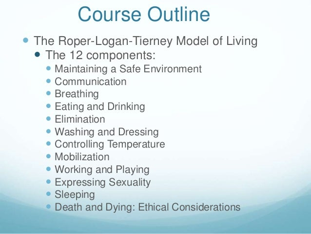 roper logan tierney Well known throughout the united kingdom and translated into multiple languages, the roper-logan-tierney (r-l-t) model of nursing is a practice-centered theoretical model useful in both academic .