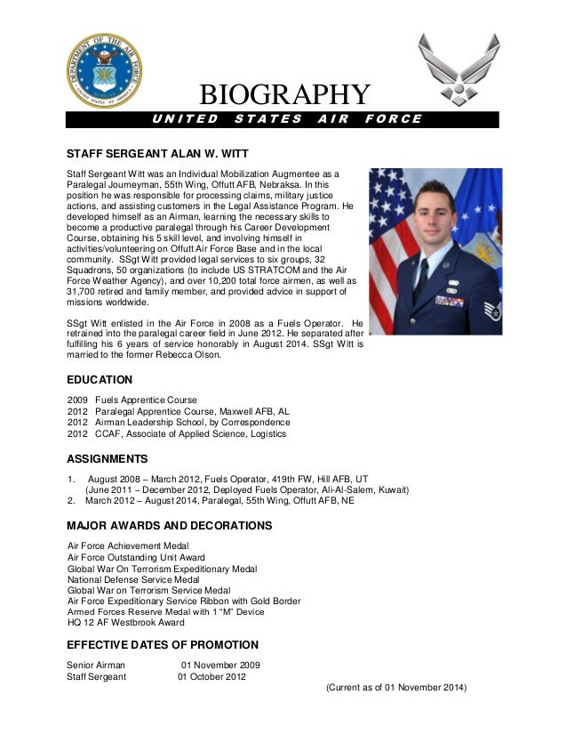 Witt military bio for Army board bio template