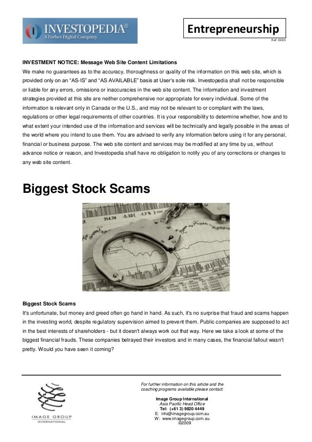 Biggest stock scams