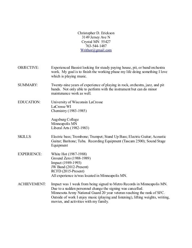 Musician resume example