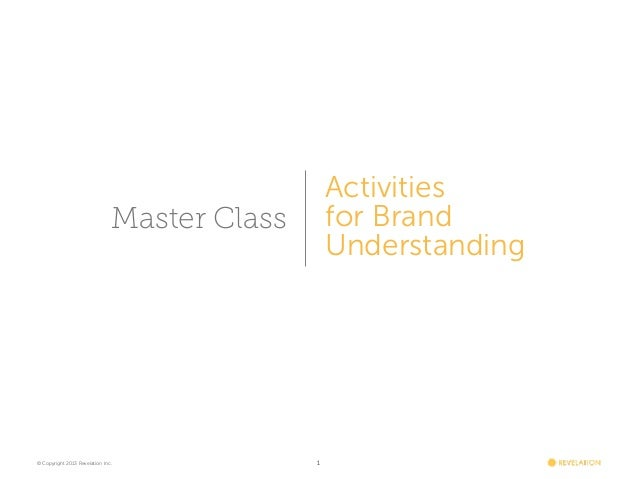 Revelation Master Class: Activities For Brand Understanding