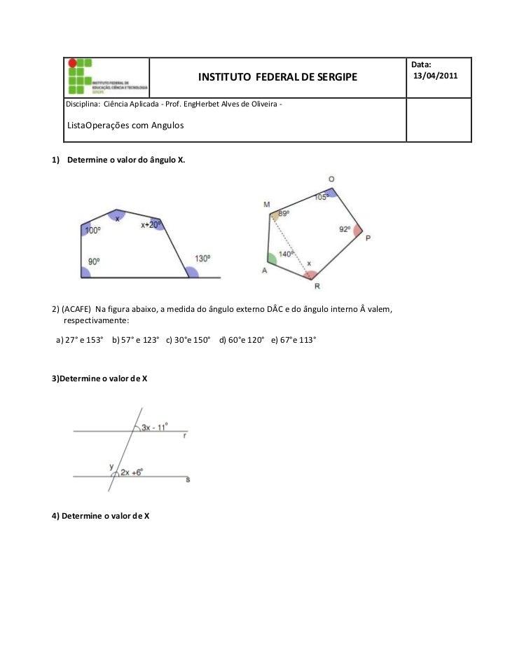 INSTITUTO  FEDERAL DE SERGIPEData: 13/04/2011D  Disciplina:  Ciência Aplicada - Prof. Eng  Herbet Alves de Oliveira -     ...