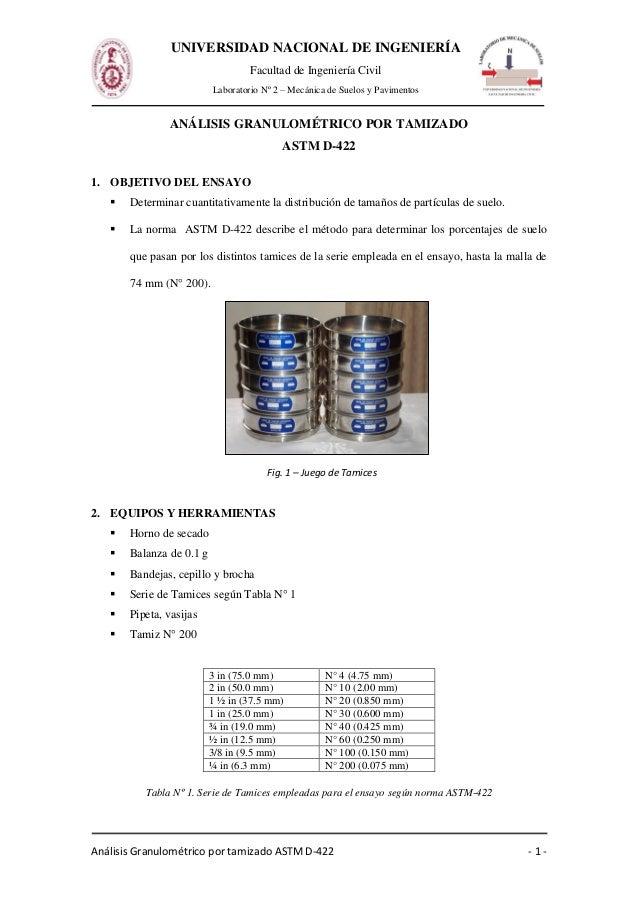 Análisis Granulométrico por tamizado ASTM D-422 - 1 - UNIVERSIDAD NACIONAL DE INGENIERÍA Facultad de Ingeniería Civil Labo...