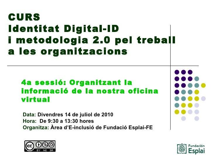CURS Identitat Digital-ID  i metodologia 2.0 pel treball a les organitzacions Data: Divendres 14 de juliol de 2010 Hora: ...