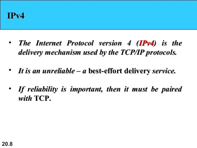 internet protocol version 4 analysis Internet protocol version 6 is currently being rolled out across the globe, and its enlarged addressing system will fix the limitation of ipv4 you see, ipv6 uses 128 bits instead of 32 bits for its addresses, creating 34 x 10^38 possible addresses (that is a 'trillion-trillion-trillion' undecillion' is an obscure term that describes this.