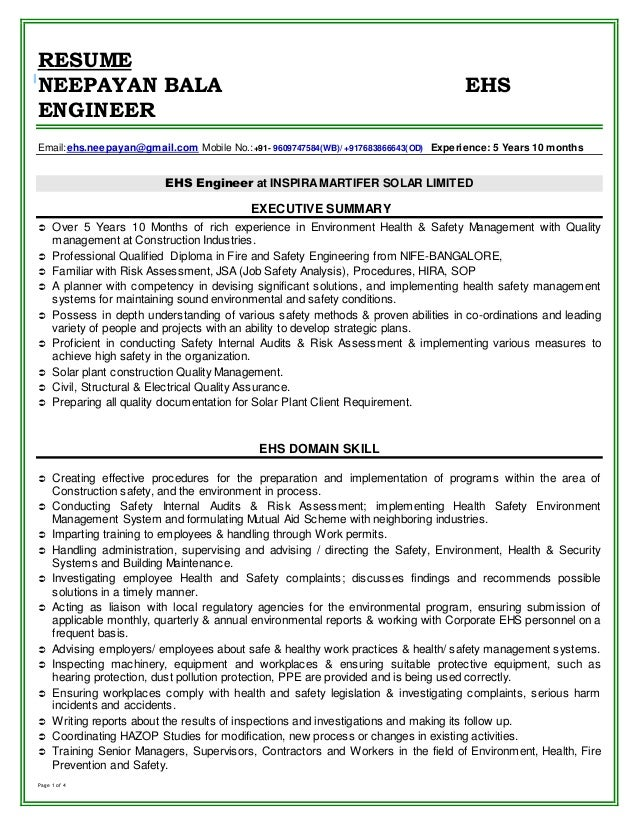 resume neepayan bala ehs engineer email mobile
