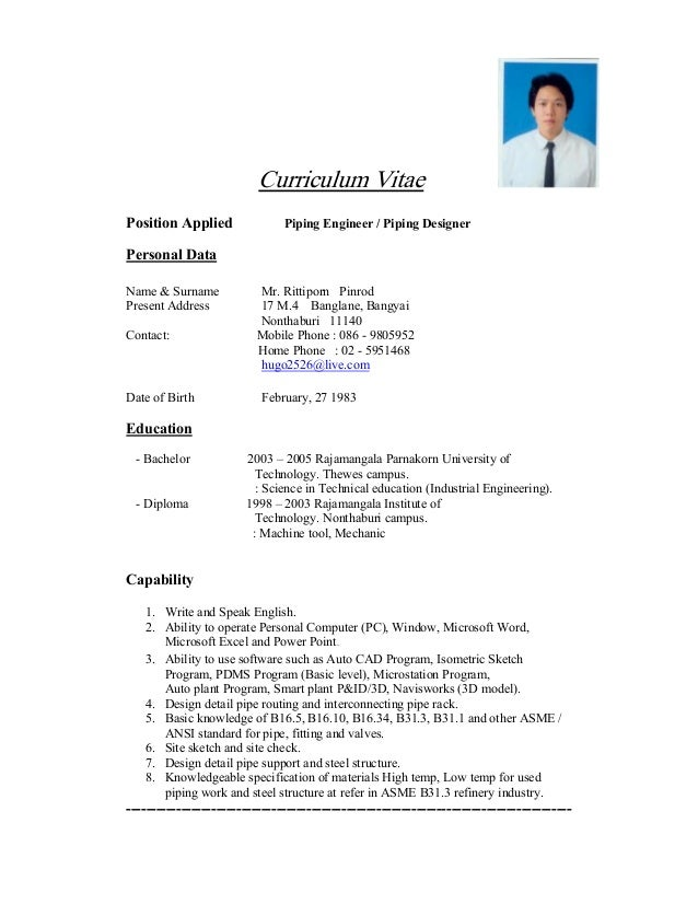 Resume format in thailand