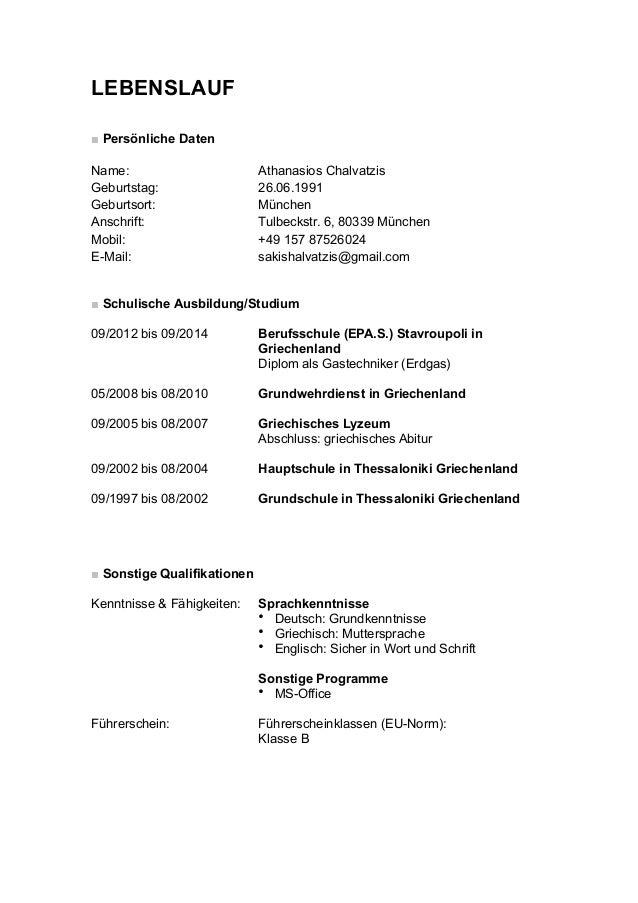 Wunderbar Lebenslauf Für Das Ausland Bilder - Dokumentationsvorlage ...