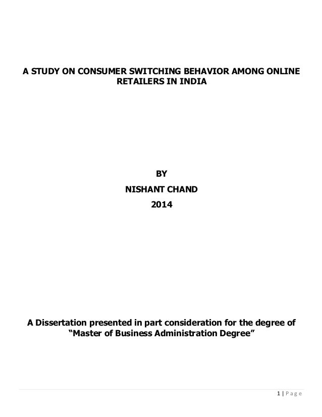 Consumer Switching Behavior Among Online Retailers In India