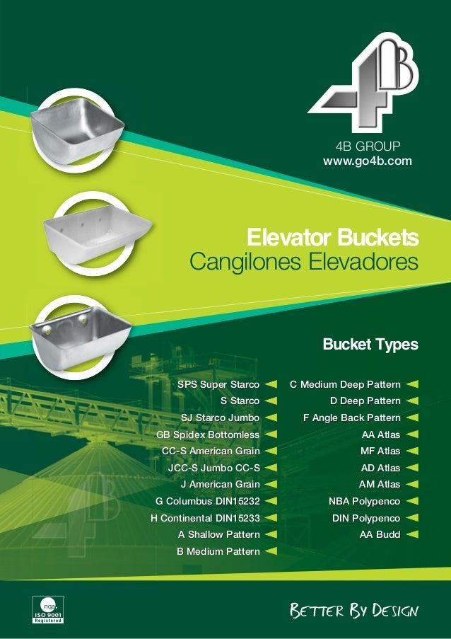 Elevator Buckets Cangilones Elevadores www.go4b.com 4B GROUP Bucket Types SPS Super Starco S Starco SJ Starco Jumbo GB Spi...