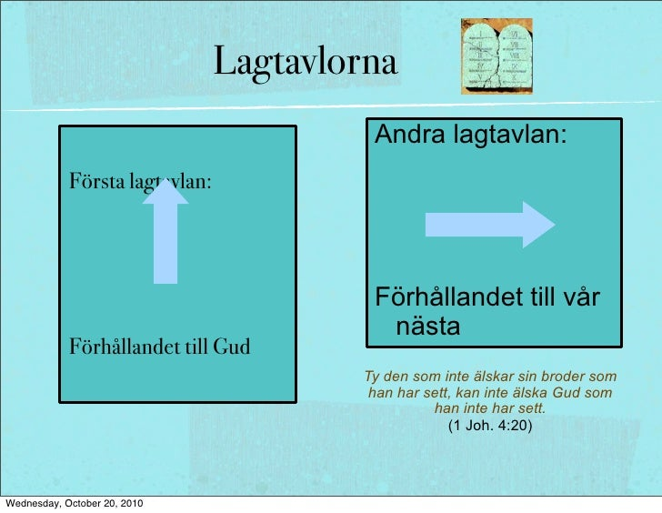 Lagtavlorna Första lagtavlan:        Andra lagtavlan:     Förhållandet till        Förhållandet till Gud                  ...