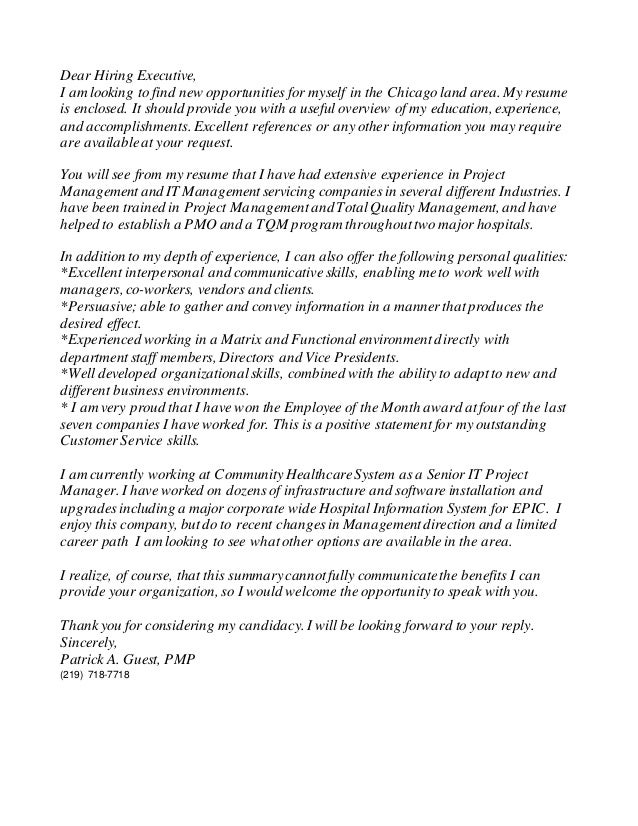 pg pmp resume cover letter 2015