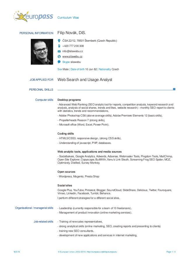 curriculum vitae formato europeo english version