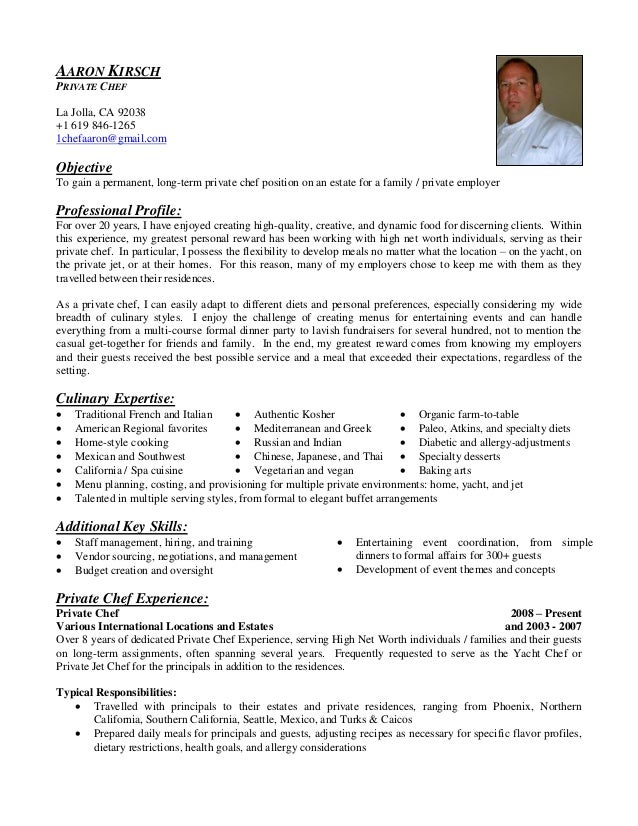 aaron kirsch chef resume