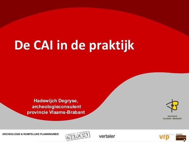 De CAI in de praktijkHadewijch Degryse,archeologieconsulentprovincie Vlaams-Brabant