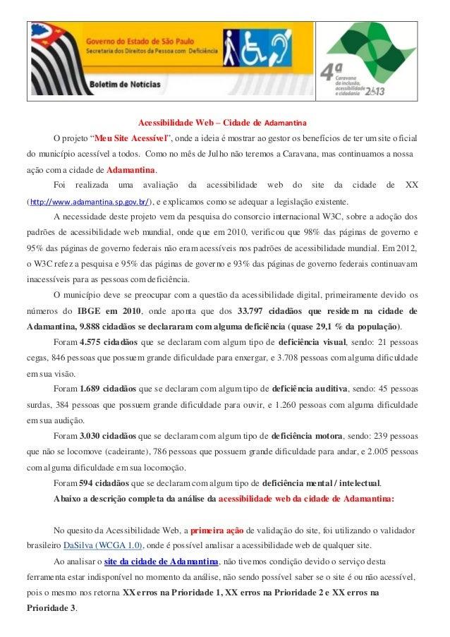 Acessibilidade Web – Cidade de Adamantina - Novembro 2013