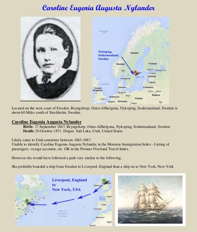 Caroline Eugenia Augusta Nylander Located on the west coast of Sweden. Bryngeltorp, Ostra-Allhelgona, Nykoping, Sodermanla...
