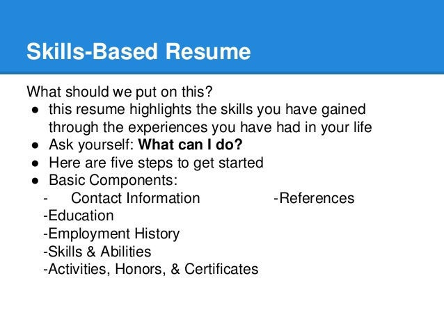 resume amp skill building workshop skills based resume what should we put