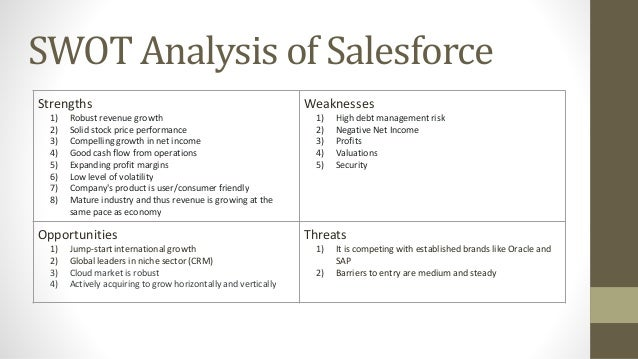 swot analysis for salesforce com Wikiwealth offers a comprehensive swot analysis of salesforcecom (crm) our free research report includes salesforcecom's strengths, weaknesses, opportunities, and threats.